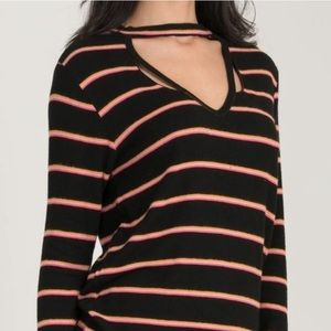 LNA | Revolve Helena Stripe V-Neck Long Sleeve Top